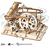 ROKR Marble Run Wooden Model Kits Hand Cranked 3D Wooden Puzzle Mechanical Model Kits with Balls for Teens and Adults(Waterwheel Coaster)