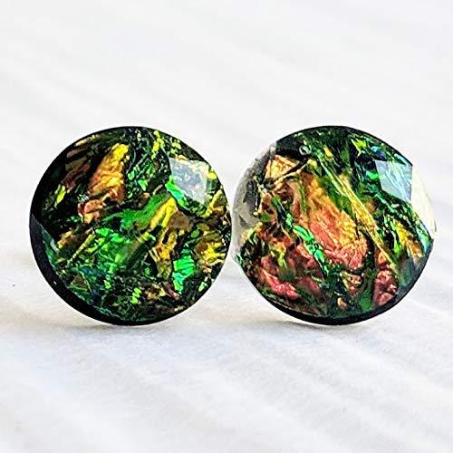 Dark Fire Opal Resin Stud Earrings - 10mm - Hypoallergenic Titanium Posts
