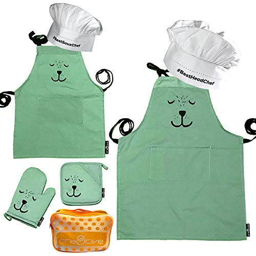 Cre8tivePick Cute Bear Apron For Adult & Child, Matching Apron + Oven Mitt + Pot Holder, Heat Resistant, Machine Washable, Kitchen Gift Set, Baking Gift Set, Parents and kids uniform - Apron Mothers