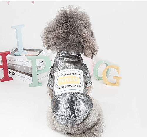 (ZEEY Teddy Small Dog Pet Light Sense Springtime Thin Section Than Bear Puppies Cat Summer T-Shirt (XL, Silver))