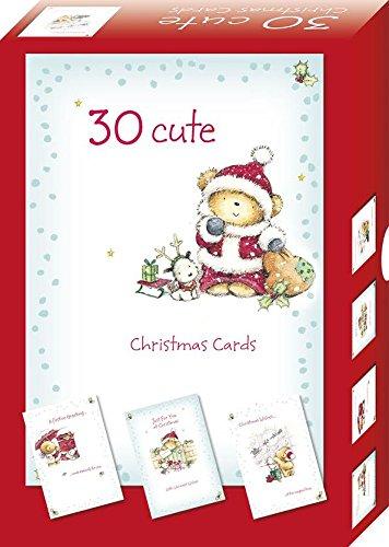 bumper box of 30 cute christmas cards 4 santa teddy bear designs per pack
