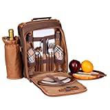 Flexzion Picnic Bag Kit - Set for 2 Person With Cooler Compartment, Detachable Bottle/Wine Holder, Plates and Flatware Cutlery Set Insulated Lunch Bag (Plaid Tartan - Brown)