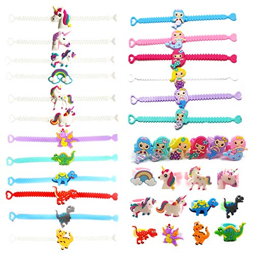 36 pcs Party Favors Supplies, Dinosaur Unicorn Mermaid Rings Bracelets Toys Prizes Gift Carnivals for Kids Boys Girls Birthday Party Accessories]()