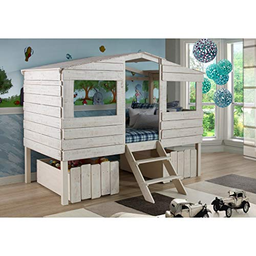 (Donco Kids Rustic Sand Twin Tree House Loft Bed with Storage Drawers)