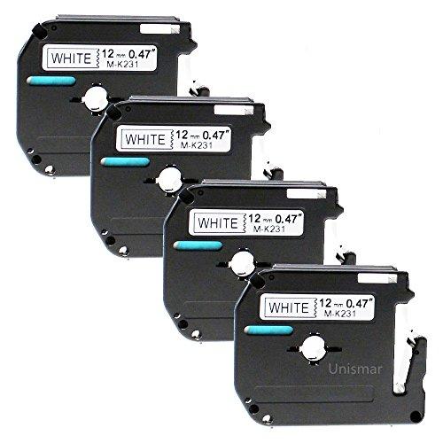 "4PK MK231 M-K231 Black on White Label Tape for Brother P-Touch PT-70BBVP 1//2/"""