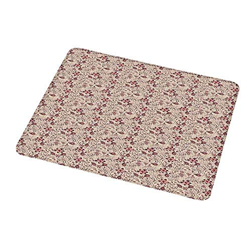 - Gaming Mouse Pad Flower,Ornamental Pattern with Bedding Plants Retro 60s Styled Blossoms and Leaves,Beige Coral Brown,Gaming Non-Slip Rubber Large Mousepad 9.8