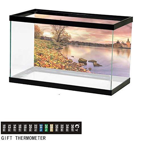 bybyhome Fish Tank Backdrop Landscape,Prague Riverside Autumn,Aquarium Background,48