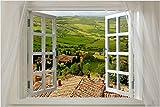 Scenic Poster WINDOW ONTO TUSCANY 24X36 Italian COUNTRYSIDE Lush PRIZED New