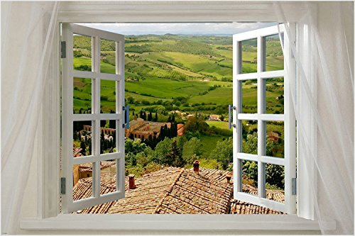 Scenic Poster WINDOW ONTO TUSCANY 24X36 Italian COUNTRYSIDE Lush PRIZED New by HSE (Image #1)