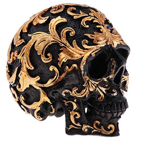 (Baosity Halloween Resin Craft Skull Head Statues & Sculptures Garden Ornaments Creative Art Carving)