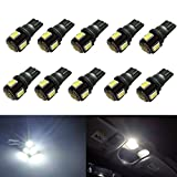 JDM ASTAR 10pcs Super Bright 194 168 175 2825 W5W 158 161 T10 Wedge High Power 5630 SMD 6000K LED Bulbs, Xenon White(Best Value on the market)