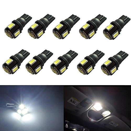 JDM ASTAR 10pcs Super Bright 194 168 175 2825 W5W 158 161 T10 Wedge High Power 5630 SMD 6000K LED Bulbs, Xenon White(Best Value on the market) (99 Tacoma Led Taillights compare prices)