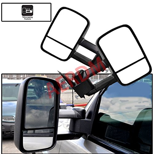 (New 2pcs Pair Left+Right Side Manual Operated Glass Textured Black Telescoping Trailer Towing Mirrors Fit Chevy/GMC/Cadillac Silverado Sierra Avalanche Suburban Tahoe Yukon XL Escalade EXT ESV)