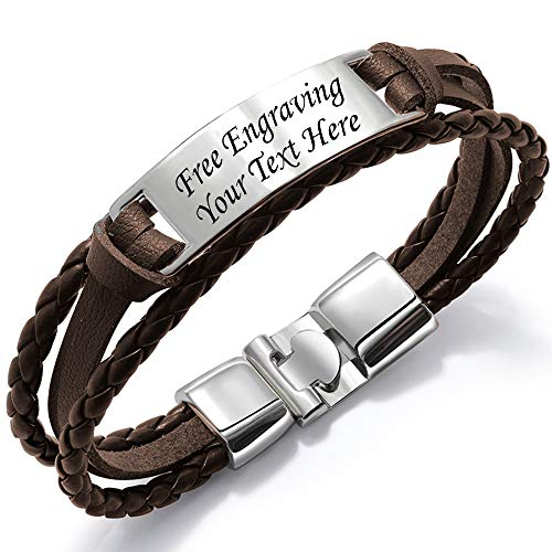 Kedar Personalize Engraved Customized Braided Multilayer Leather Bracelet Custom Leather Free Engraving (Brown) -
