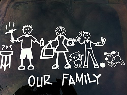 Exterior - Text Only - Official'OUR FAMILY' Family & Pets NOT Included - My Stick Figure Family Vinyl Car Window Sticker'T1' - Stick Figures NOT included My Stick Figure Family Car Window Stickers And More