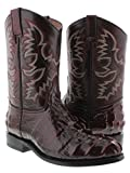 El Presidente Men's Black Cherry Crocodile Tail Design Leather Cowboy Boots Roper 7 D