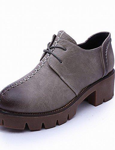 ZQ hug Zapatos de mujer - Plataforma - Creepers / Punta Redonda - Oxfords - Exterior / Oficina y Trabajo / Vestido / Casual - Semicuero -Negro / , gray-us8 / eu39 / uk6 / cn39 , gray-us8 / eu39 / uk6 brown-us6 / eu36 / uk4 / cn36