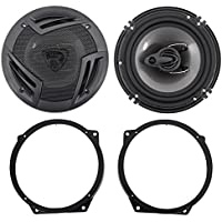 02-08 Mini Cooper Rockville 6.5 Front Factory Speaker Replacement Kit+Adapters