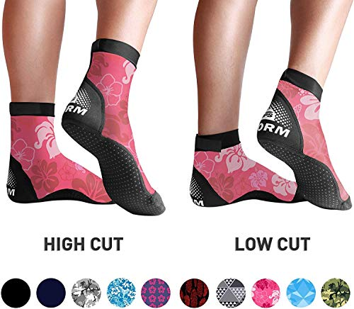 BPS Storm Lycra Sports Socks - Sand Skins for Outdoor Volleyball, Surfing, Dive Boots, Canoeing, Snorkeling, Beach Soccer - for Men and Women - Low Cut Socks (Pink Floral, Medium)