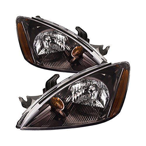 HEADLIGHTSDEPOT Black Housing Halogen Headlight Compatible with Mitsubishi Lancer 2004-2007 Includes Left Driver and Right Passenger Side Headlamps