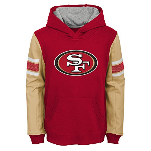 Outerstuff NFL San Francisco 49ers Kids & Youth Boys Man in Motion Color Blocked Pullover Hoodie, Crimson, Kids Medium(5-6)
