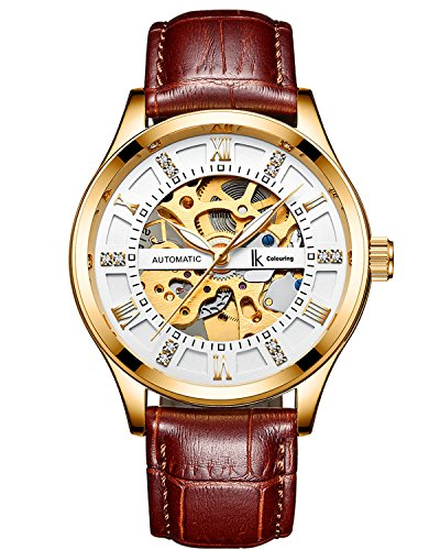 IK Men Automatic Watch, Men s Business Analog Auto Self Wind Mechanical Steampunk Watch