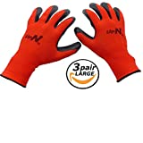 UpNorth 13 Gauge Polyester Knit Work Gloves, Textured Rubber Nitrile Palm Dipped/Coated for Construction, 3-Pairs, Men's Large