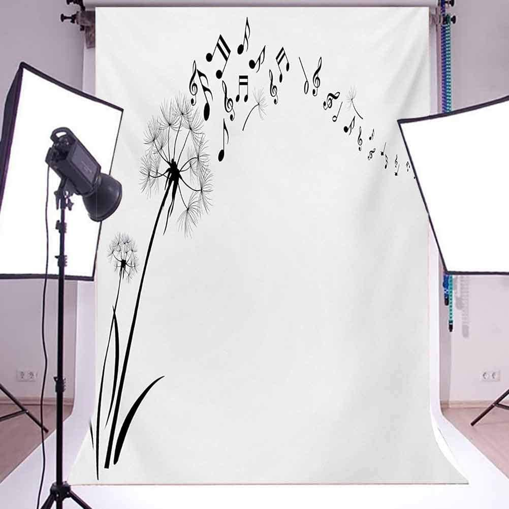 Music 10x15 FT Photography Backdrop Flying Dandelions with Notes Music Summer Spring Meadow Silhouette Softness Simple Background for Baby Shower Bridal Wedding Studio Photography Pictures Black WHI