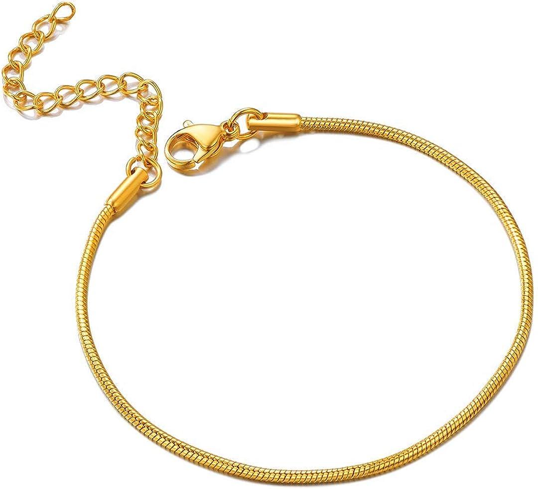 ChainsHouse Redondo Collar Serpiente Fino Mujer 46cm - 76cm [Platino Dorado Rosado Negro] Cadena de Cuello Acero con Alargador Gratis Caja de Regalo