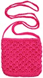 Girls Crochet Bag With Strap Oval By Back From Bali Hot Pink, Bags Central