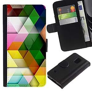 KingStore / Leather Etui en cuir / Samsung Galaxy S5 V SM-G900 / Patrón Polígono colores pastel colorido 3D