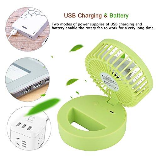 fosa Mini USB Desk Cooling Fan, Lemon Style Air Circulator Fan 3-level Adjustment Powerful Wind USB Desktop Fan for Home Office School(Green) by fosa (Image #2)