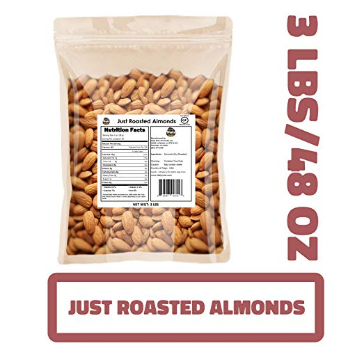 Roasted Toasted Almond - Just Roasted Almonds (Un-Salted, Dry-Roasted) (Just Roasted Almonds, 48 OZ) (KOSHER CERTIFIED)