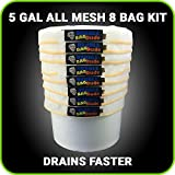 BUBBLEBAGDUDE Bubble Bags All Mesh 5 Gallon 8 Bag Herbal Hash Ice Bubble Bag Extractor Kit - Comes with Pressing Screen and Storage Bag