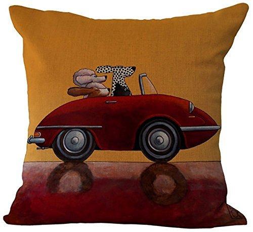 Dark Red Open Car and Dalmatian Dogs GH-418 Linen Decorative