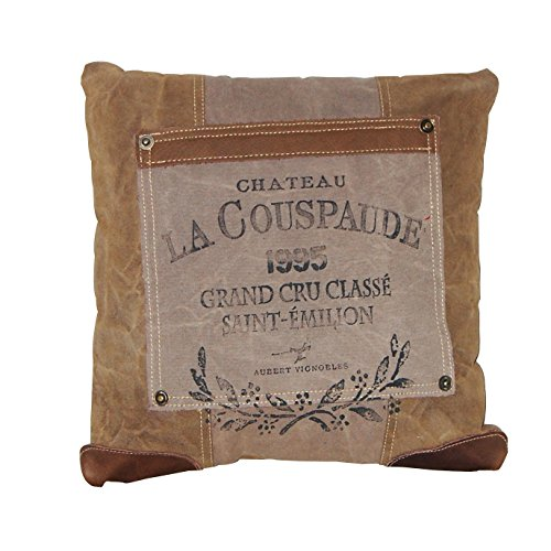 Chloe & Lex Antiqued Canvas and Leather French Inspired Throw Pillow 16 Inches Square with Insert by Chloe & Lex