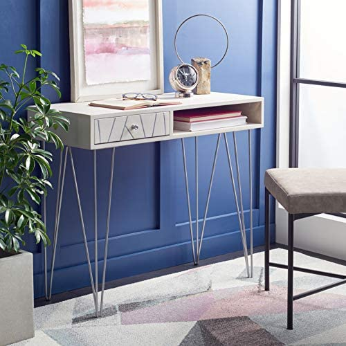 Reviewed: Safavieh Home Office Collection Marigold White Wash and Silver 1-Drawer Hairpin Leg Desk