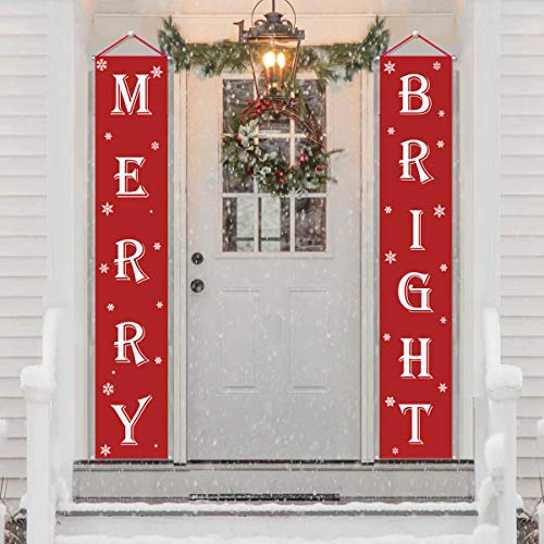 Ourwarm Merry Christmas banner, Christmas signs for Christmas decisions outdoor indoor, red banner merry bright porch with logo Xmas Decor banners for home wall door apartment party (Indoor Decorating Porch)