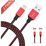 Lightning Cable Avoalre Nylon Braided iPhone Charger Lead 2Pack 2m/6.5ft Wire for iPhone X 8 8 Plus 7 7 Plus 6 6s 6 Plus 6s Plus 5 5S 5C SE, iPad Pro Air, iPad Mini 2 3 4 iPod (Black&Red)