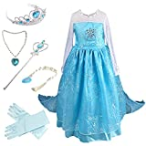 Anbelarui Girls New Princess Party Cosplay Costume Long Dress Up 3-9 Years (4-5 Years, #02 Dress&Accessories Set)