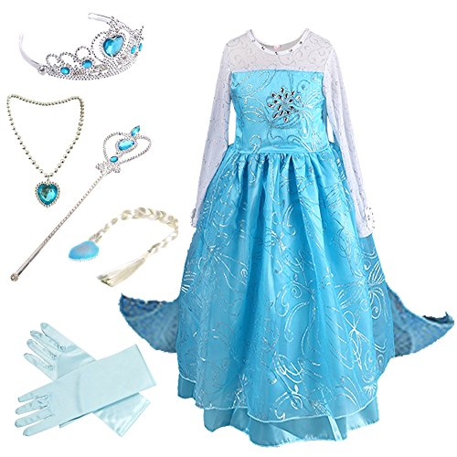 Anbelarui Girls New Princess Party Cosplay Costume Long Dress Up 3-9 Years (4-5 Years, #02 Dress&Accessories Set) (Girls Costumes Dress Up)