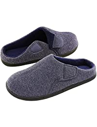 ULTRAIDEAS Men's Soft Memory Foam Slippers Short Plush Clog Indoor & Outdoor House Shoes w/Adjustable Velcro