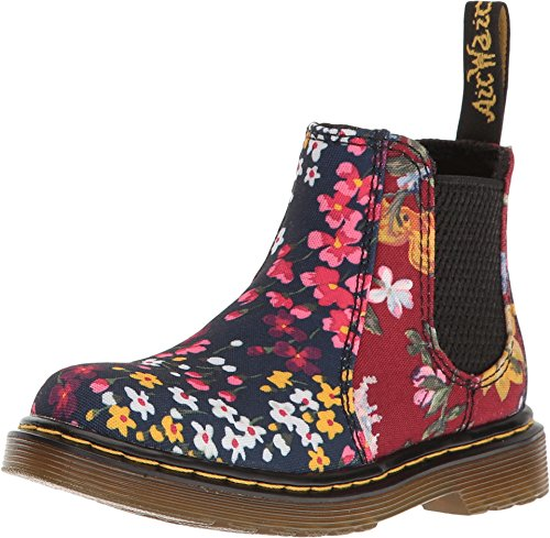 Dr. Martens Kid's Collection Baby Girl's Shenzi FC Chelsea Boot (Toddler) Indigo/Dark Red T Canvas (Girls Flower Boots)