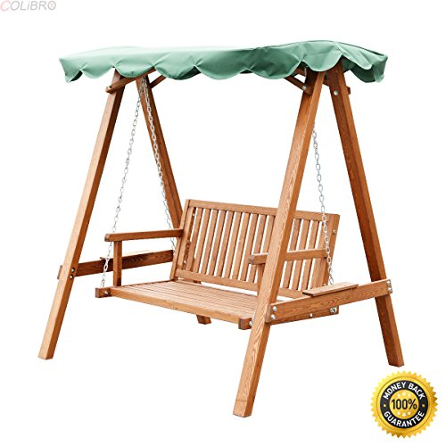 Garden Canopy Wooden (COLIBROX--Outdoor 2 Person Larch Wooden Swing Loveseat Hammock Canopy Patio Garden Furni,2 Person Larch Swing Loveseat Hammock,swing chair outdoor,hammock swing chair,lowes porch swing)