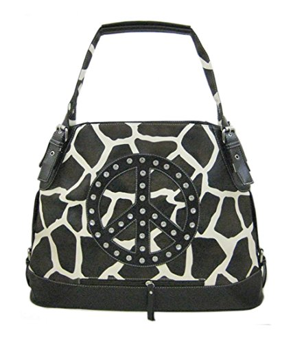 (Brown/White Giraffe Print Bucket Bag)