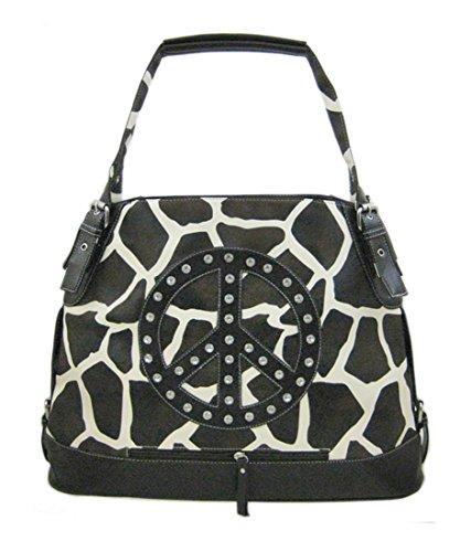 (Brown/White Giraffe Print Bucket Bag Vinyl Womens Handbags Brown)