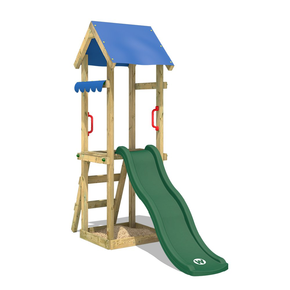 WICKEY Climbing Frame with Slide TinySpot Monkey Bars Play Tower with Sand Pit and Rope Ladder, Green Slide + Blue tarp