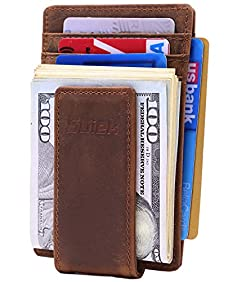 SUIEK Men's Money Clip RFID Thin Wallet - Leather Magnetic Front Pocket Slim Wallet and Credit Card Holder