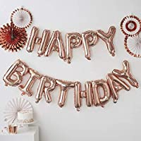 """Party Propz """"Happy Birthday Letter Foil Balloons   Rose Gold Color (Set of 13 Pcs)"""