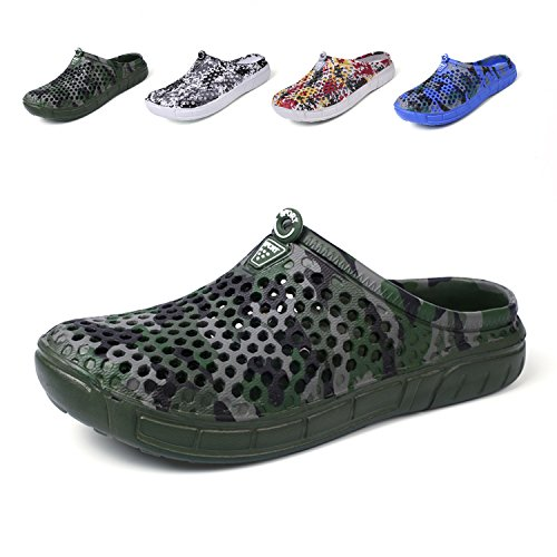 OUYAJI Garden Clog Shoes Beach Footwear Water bash Womens Summer Slippers Camouflage Green